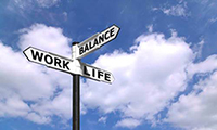 Photo about the directions of work, life and balance
